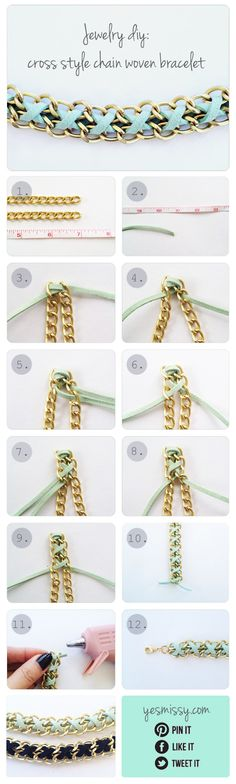 [orginial_title] – kim DIY Bracelet: Cross Style Chain Woven Bracelet DIY Bracelet Tutorial for chain and suede bracelet elfsacks Armband Tutorial, Armband Diy, Bracelet Tutorial, Diy Tutorial, Photo Tutorial, Suede Bracelet, Woven Bracelets, Diy Bracelet, Diy Necklace