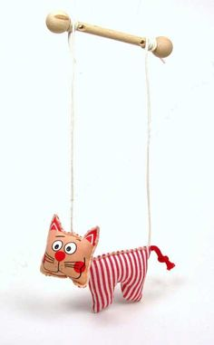 """Cat ,  puppet marionette 5"""" $14 I had several marionettes as a child :o)"""