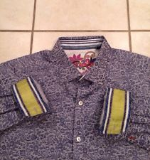 Men's Robert Graham Button Up Down Shirt Contrast Cuff Blue Paisley Floral Large