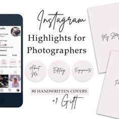 Instagram Highlight Covers for photographers   Wedding photography   Portrait photograhpy   modern instagram highlights   handwritten instagram highlight covers   minimalistig instagram highlight covers #instagramhighlightcover Photography Tips, Portrait Photography, Wedding Photography, Welcome Packet, Story Quotes, Handwritten Fonts, Gift Quotes, Light Covers, Story Highlights