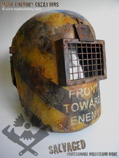 Post Apocalypse armour - the Welder's Helmet. Made by Mark Cordory Creations. Custom enquiries always welcome. www.markcordory.com