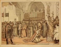 The coronation of 15 year old King Eric of Denmark, Sweden and Norway in 1397.  The woman with the crown on her head on the left is the King's adoptive-mother Queen Margrethe 1 of Denmark, Norway and Sweden (and the actual regent during Eric's time on the throne).