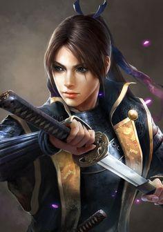 ArtStation - Woman Samurai portrait, Seung Chan Hong