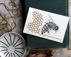 www.littlerugshop.com Im so in love with this bee illustration and honey comb embroidery by @tenured_ties  by designsponge