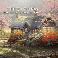 Share loving wishes this Valentine's Day with the beautiful artwork of Thomas Kinkade and Hallmark eCards. Click on this Pin to learn more.