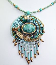 Beaded necklace, bead embroidery, OOAK handmade, freshwater pearls, turquoise chips mixed with seed beads, Czech glass beaded necklace. $75.00, via Etsy.