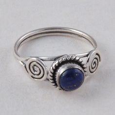 LAPIS RING 925 SOLID STERLING SILVER DESIGNER FANCY JEWELLERY 2.49g R01581 #Handmade #GEMSTONERING