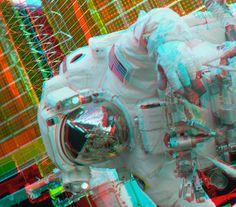 NASA astronaut John Olivas outside the International Space Station in 3D.