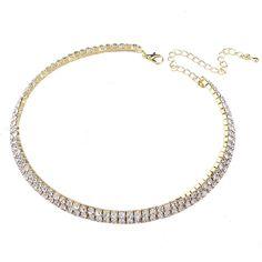 Fleur De Lis Choker / Swarovski Kristal - 2rij - Gala Of Feest - Edelmetaal Plating - Zilver Of Goud