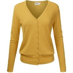 NINEXIS Womens Basic V-Neck Crew Neck Long Sleeve Button Down Cardigan... ($14) ❤ liked on Polyvore featuring tops, cardigans, crew top, brown cardigan, button down cardigan, crew-neck tops and button up cardigan