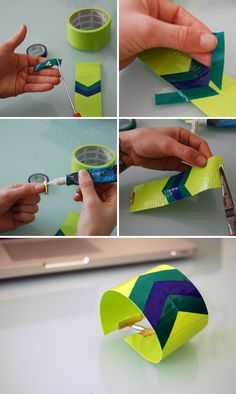 DIY duct tape bracelet tutorial must try! @Kim at eCrafty.com #ecrafty #diybracelets #braceletsupplies