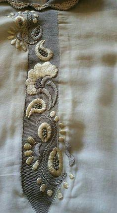 Randa Embroidery Suits Punjabi, Embroidery On Kurtis, Kurti Embroidery Design, Hand Work Embroidery, Hand Embroidery Stitches, Embroidery Fashion, Hand Embroidery Designs, Beaded Embroidery, Caftan Gallery