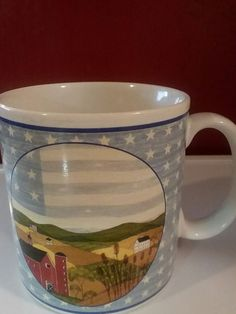 a6123c1a291 Coffee Cup Mug Warren Kimble America The Beautiful 1999 Bucolic Barn  Farmhouse