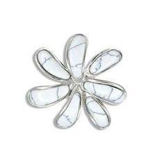 Sterling Silver White Turquoise Tahiti Tiare Flower Pendant