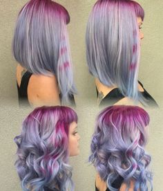 Bright purple roots and lavender tips colormelt #hair #hairstyle #haircolor