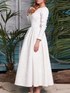 White Long Sleeve Embossed Flare Dress Mobile Site