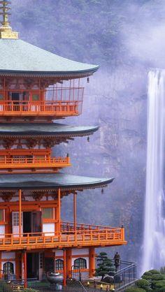 Kumano Nachi Taisha Shinto shrine and Nachi Falls along the Pilgrimage Route near Nachikatsuura, Japan • photo: LTBL tv on Flickr