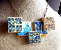 Portugal Antique Azulejo Gold Blue Tile NECKLACE  from by Atrio,