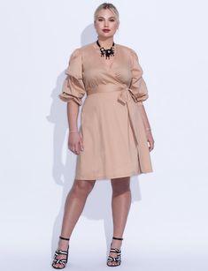 0e462ea5411 Tucked Puff Sleeve Faux Wrap Dress