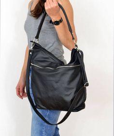 BLACK LEATHER HOBO Bag,  Crossbody Bag - Everyday Leather, Shoulder Bag,Slouchy leather hobo,Natural leather by BarbaraLeatherDesign on Etsy