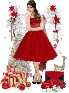 """red christmas"" by sagramora ❤ liked on Polyvore"