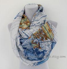 Blue World Map Infinity Scarf