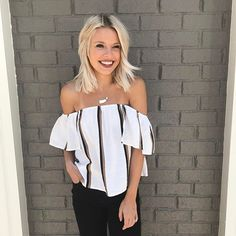 We are crushing hard on this little top from Karlie! It's the perfect addition to your OTS collection for this spring and summer! #shopatl #atlantaboutique #shopsmall #shoplocal #stayHIP #handinpocket #springtrends #ootd #outfitinspiration #offshouldertop #stripedtop #summeroutfit #blackjeans #karlieclothes