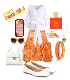 """Orange Ruffles"" by snowflakeunique ❤ liked on Polyvore featuring MSGM, Chloé, Chicwish, Miu Miu, Betsey Johnson, Kate Spade, Dolce&Gabbana and Casetify"