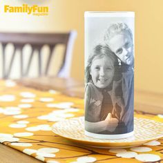 Make a Photo Candle Holder: Here's proof that your child's smile can literally light up a room with the help of a battery-operated tea light. Easy Crafts, Crafts For Kids, Arts And Crafts, Craft Gifts, Diy Gifts, Keepsake Crafts, Candle Craft, Glass Candle, Weekend Crafts
