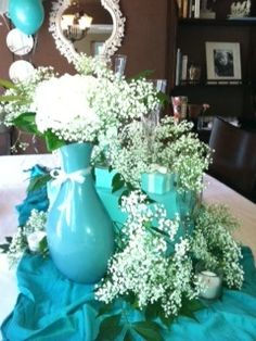 something blue bridal shower tiffany inspired centerpiece babys breath makes a surprisingly