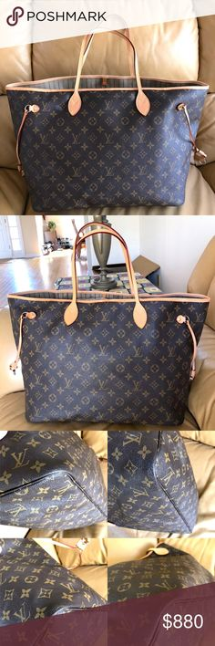 LOUIS VUITTON MONOGRAM NEVERFULL GM Brown and tan monogram coated canvas Louis Vuitton Neverfull GM with brass hardware, tan vachetta leather trim, drawstring expansions at sides, dual flat shoulder straps. Date code reads SP4017. Used condition, minor discoloration at interior leather, leather trim has been changed with new; the zipper of the interior pocket doesn't work well (last picture); two small marks at lining under the pocket. From overall, the bag is still very good. Shop authentic…
