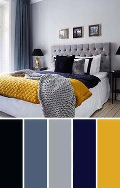 home decor bedroom Gray Yellow Navy-Blue Bedroom Color Scheme Blue Bedroom Colors, Navy Blue Bedrooms, Blue Bedroom Decor, Modern Bedroom, Bedroom Wall, Contemporary Bedroom, Bedroom Yellow, Bed Room, Bedroom Classic