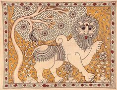 Ancient Indian Art, Indian Folk Art, Madhubani Art, Madhubani Painting, Bengali Art, Kalamkari Designs, Kalamkari Painting, Lion Painting, Krishna Painting