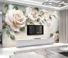 Oil Painting Flowers Rose Floral Wallpaper, Hand Painted Rose with Flying Butterfly Wall Murals Wall Decor - Wallpaper Flower, Paper Wallpaper, Room Wallpaper, Photo Wallpaper, Self Adhesive Wallpaper, Cheap Wallpaper, Wallpaper Ideas, White Rose Flower, Light Pink Rose