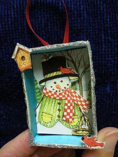 diy -easy-- older kids ornament- made from a empty cardboard jewelry box