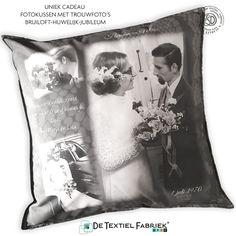 50 jaar getrouwd, uniek cadeau op maat gemaakt. Fotokussen Bedrukt Woontextiel. Het mooiste huwelijkscadeau om te geven en te krijgen bestel je bij #detextielfabriek in Apeldoorn. #fotokussen #huwelijkskussen #huwelijkscadeau #gepersonaliseerdcadeau #huwelijk #trouwen #uniekcadeau #50jarighuwelijk #fotocadeau #50jaargetrouwd