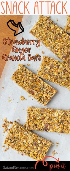 Strawberry-Ginger Granola Bars are full of good-for-you ingredients. They make an excellent snack for the trail, the office or just a pick me up! Healthy Desserts, Healthy Recipes, Healthy Food, Snack Bar, Granola Bars, Snack Recipes, Bar Recipes, Vegan Gluten Free, Make It Simple