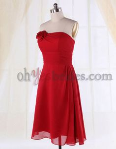 braid maids dresses red cocktail | Curvy A Line Strapless Bridesmaid Dress Chiffon Red Cocktail Gown