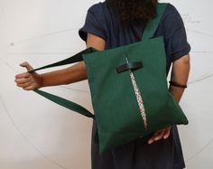 Convertible backpack Messenger bag Green canvas bag Floral Chic women bag College bag Summer light bag Minimalist handmade bag Gift for her