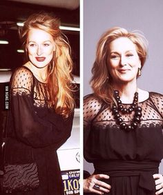 Meryl Streep, then and now, same dress. Gorgeous.