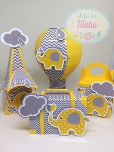 Kit Festa - Elefantinho Amarelo e Cinza Elephant Party, Elephant Birthday, Elephant Baby Showers, Baby Elephant, Baby Shawer, Baby Box, Baby Girl Announcement, Baby Shower Yellow, Baby Clip Art