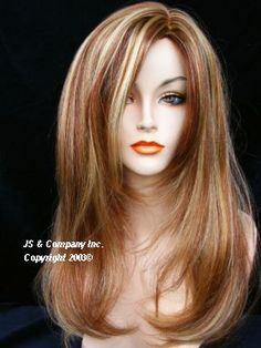 auburn highlights in blonde hair | New Silky Straight Strawberry Candy Blonde Auburn Wig | eBay