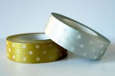 Japanese Washi Tape SIlver and Gold Polka by PackagingPaperBags, $9.00