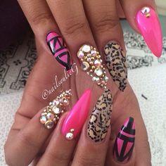 Yulie G. @nailsyulieg   Websta (Webstagram) #blingnails #animalprintnails #pinknails #nailart