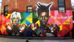 Du pop art au street-art, il n'y a qu'un pas ! Un pas franchi par Eduardo Kobra avec sa fresque d'Andy Warhol et Jean-Michel Basquiat.