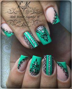 New fails art designs summer turquoise 32 ideas Henna Nails, Lace Nails, Lace Nail Design, Diy Nail Designs, Nail Art Arabesque, Bridal Nail Art, Latest Nail Art, Stamping Nail Art, Flower Nail Art