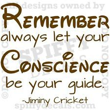 Quotes From Jiminy Cricket | JIMINY CRICKET CONSCIENCE GUIDE PINOCCHIO Quote Vinyl Wall Decal Decor ...