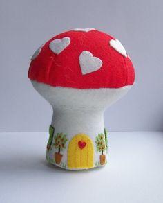 Mushroom house Valentine Cottage pincushion toy by Hippywitch, Felt Mushroom, Mushroom House, Turquoise Door, Craft Shop, Felt Crafts, Craft Fairs, Pin Cushions, Decorative Items, Arts And Crafts