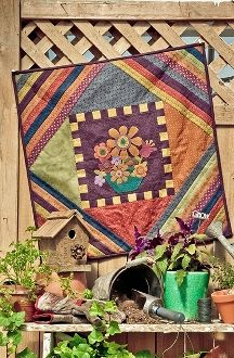 Blossom - Flower Wool Applique Small Quilt - Pattern in Little Quilts in the Coop Two by The Little Red Hen