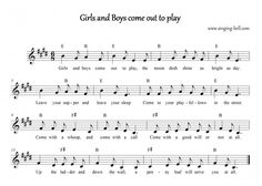 """""""Girls and Boys Come Out To Play""""  Music Score with chords"""